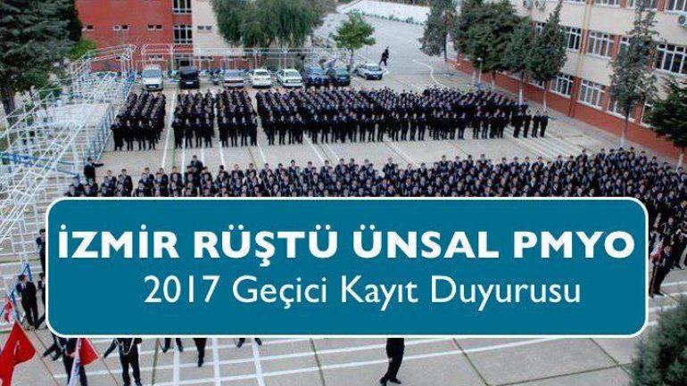İzmir Rüştü Ünsal PMYO 2017 Geçici Kayıt Duyurusu