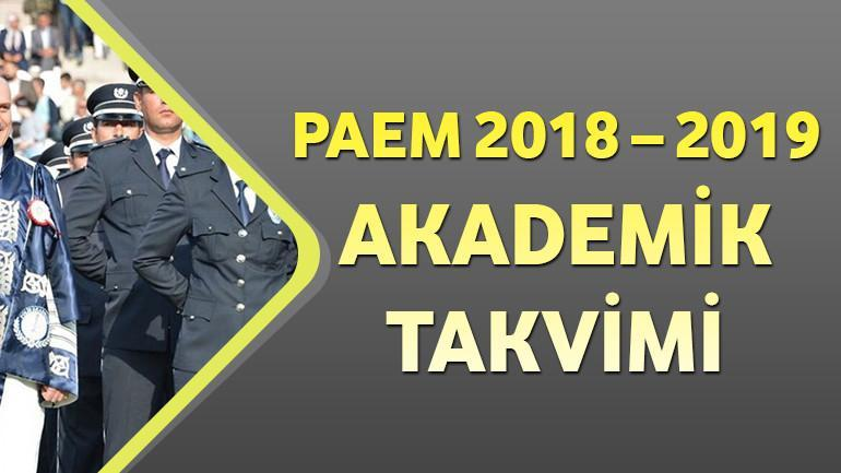 PAEM 2018 – 2019 Akademik Takvimi